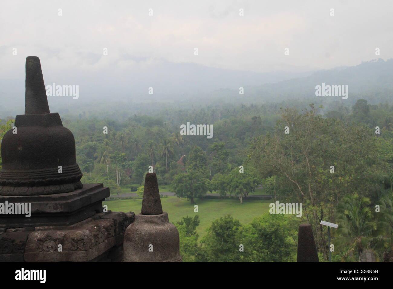 View From Borobudur Temple Yogyakarta Central Java - Stock Image