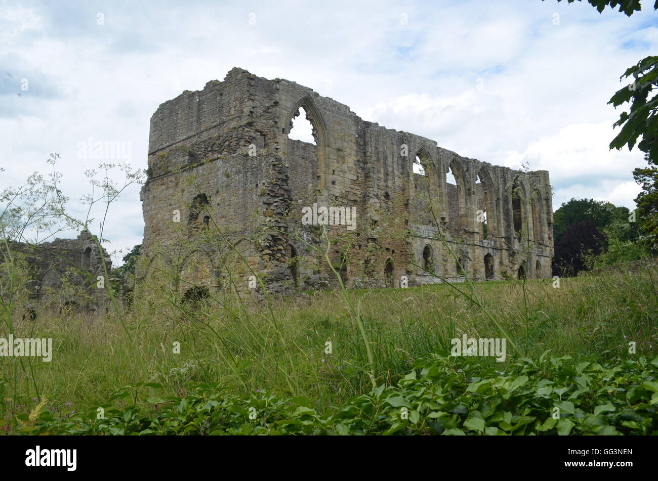 Easby Abbey, a ruined Premonstratensian abbey on the banks of the River Swale on the outskirts of Richmond, North - Stock Image