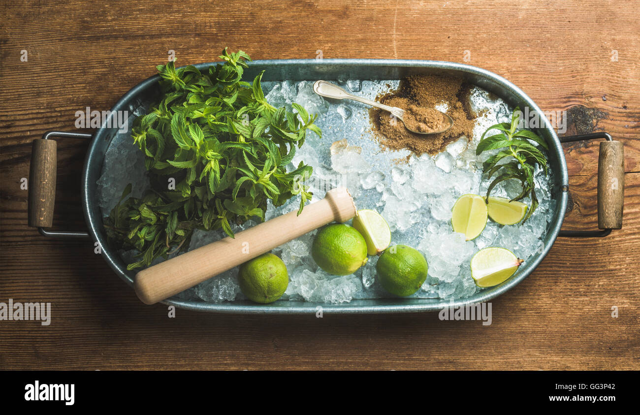 Ingredients for making mojito summer cocktail in metal tray - Stock Image