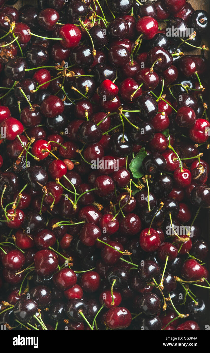 Background of dark red sweet cherries over wooden backdrop - Stock Image