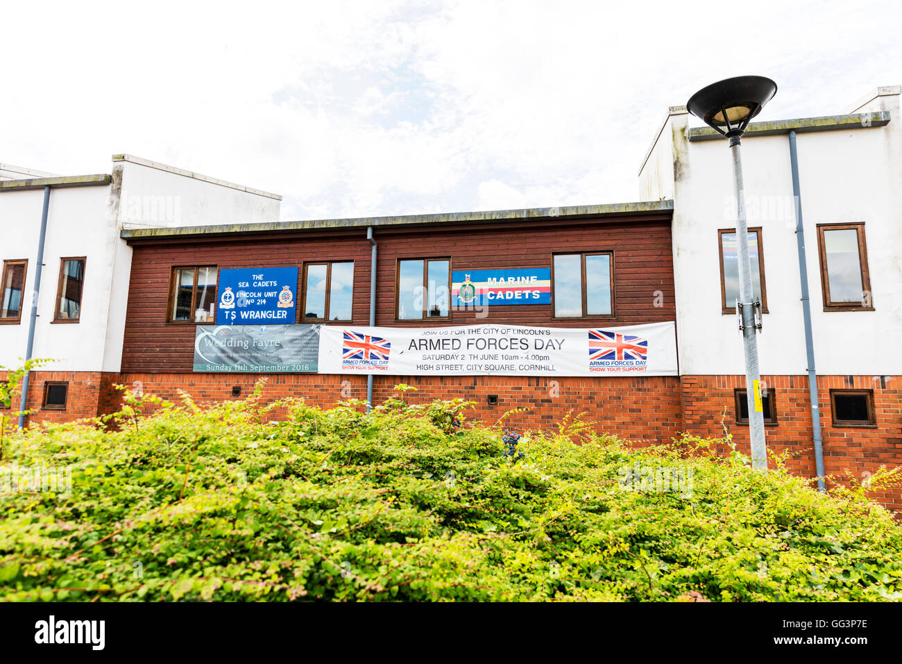Armed forces day sign marine cadets building exterior Lincoln City Lincolnshire UK England Cities - Stock Image
