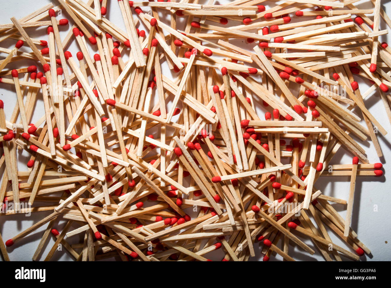 many matches interspersed occupying the whole picture - Stock Image