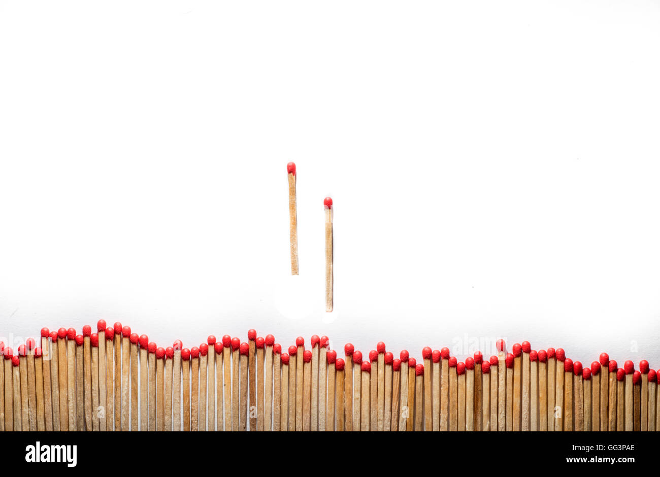 alienated many matches and two separate hasten - Stock Image