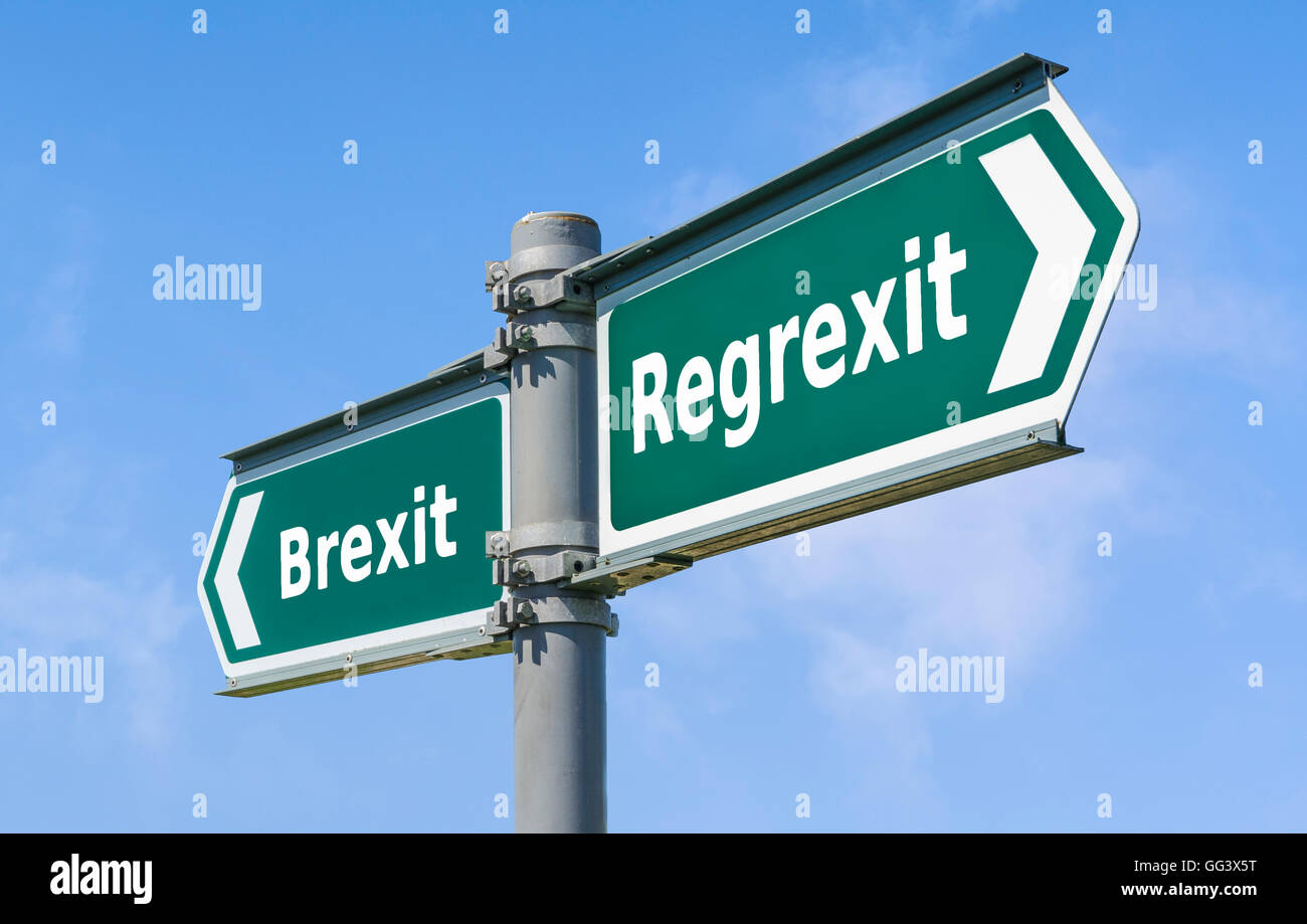 Regret brexit sign. Regrexit concept. Bregret sign. - Stock Image
