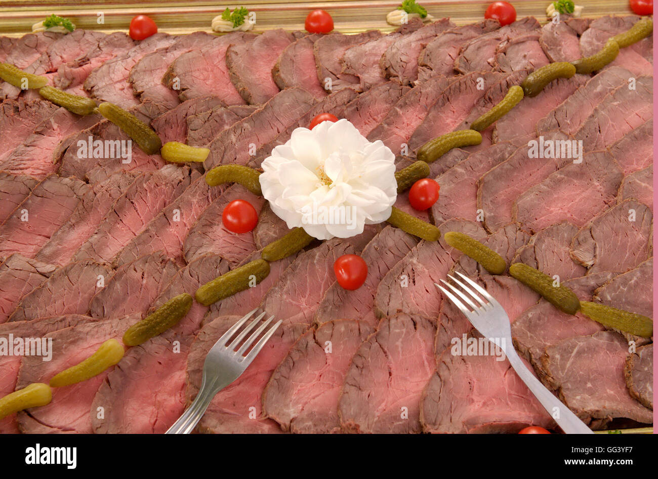Beef plate at a summer party Stock Photo