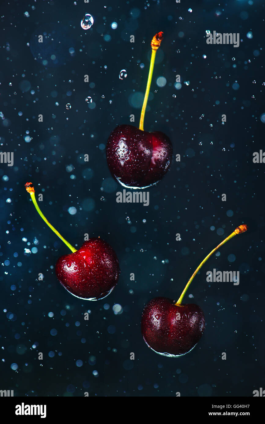 Flying cherries - Stock Image