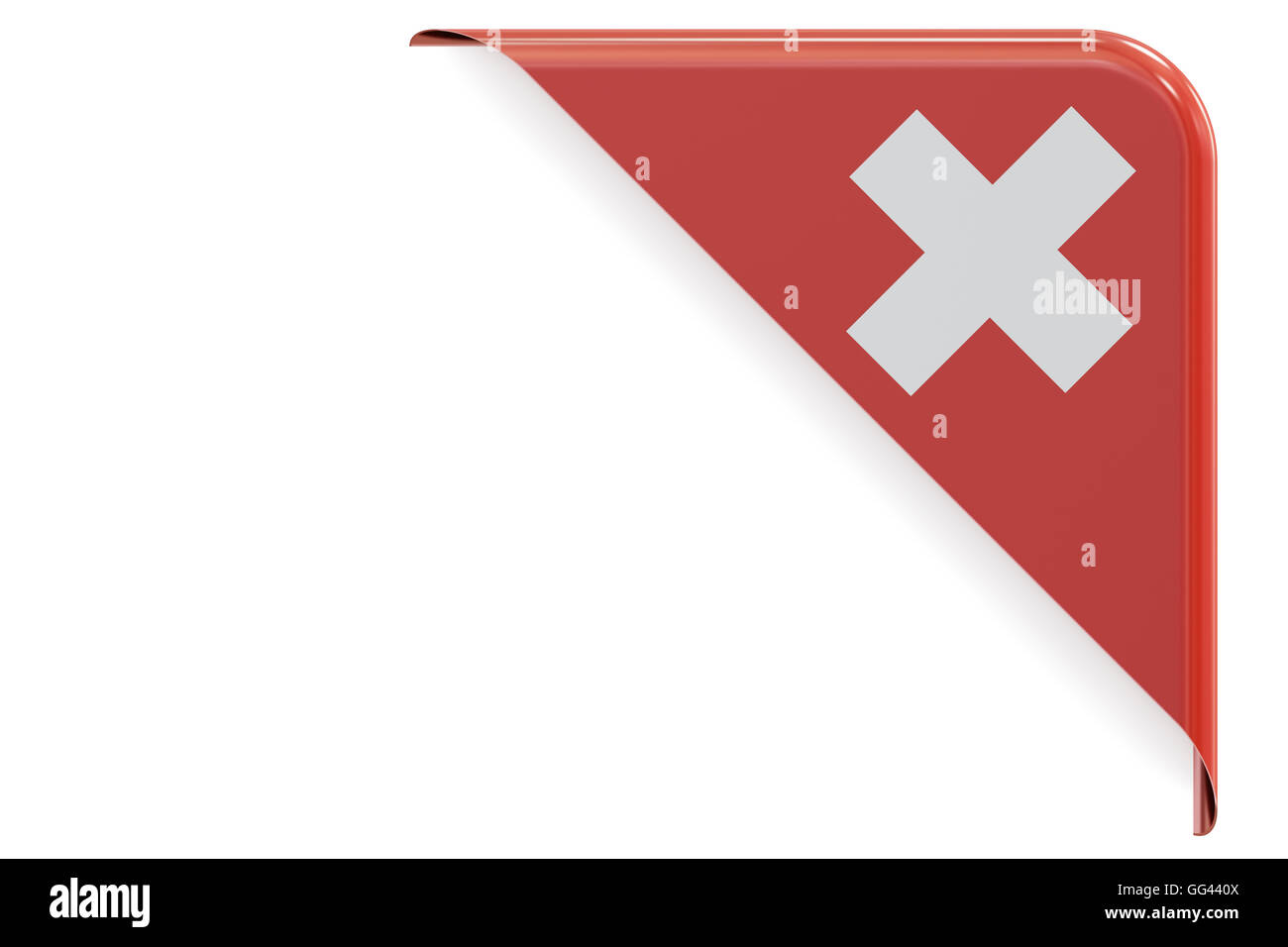 Swiss corner, button. 3D rendering isolated on white background Stock Photo