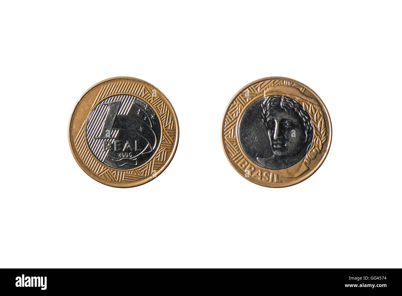 both sides of the coin of 1 real isolated on white background - Stock Image