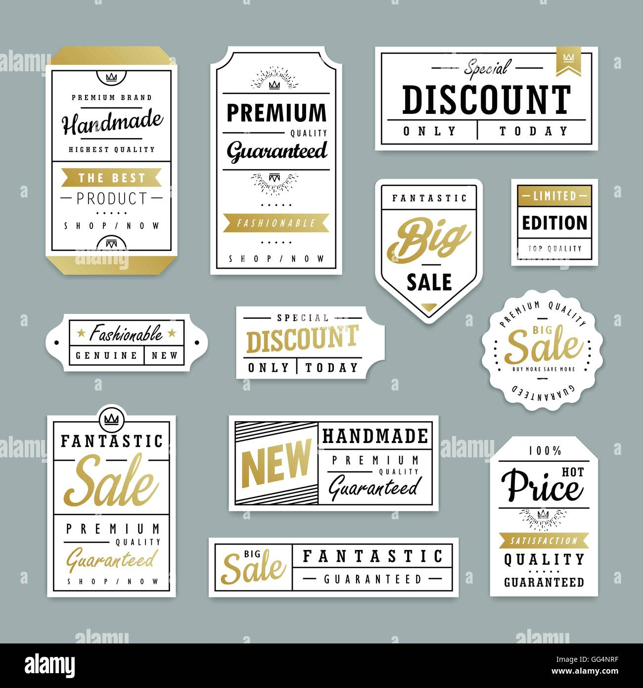 Elegant Label Design Set In Paper Texture Stock Vector Art