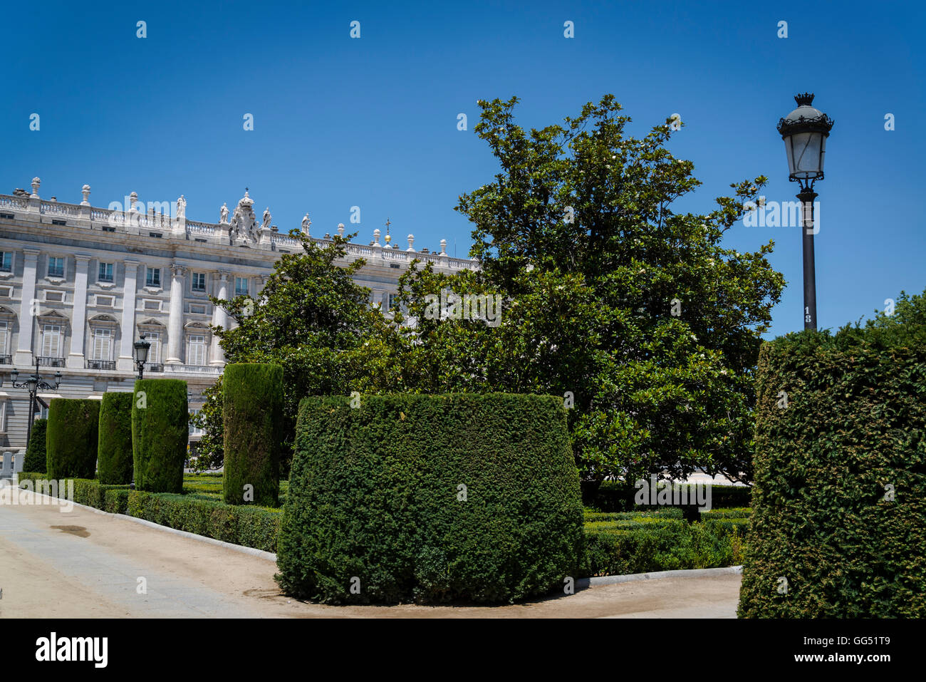 Plaza de Oriente with the topiaries of the Baroque garden, Madrid, Spain - Stock Image