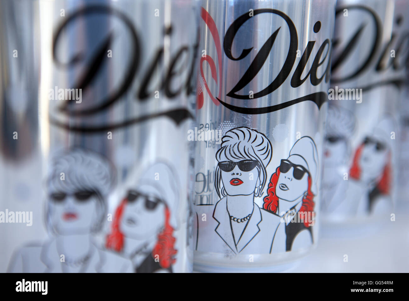 Diet Coke cans promoting the Absolutely Fabulous new movie - Stock Image