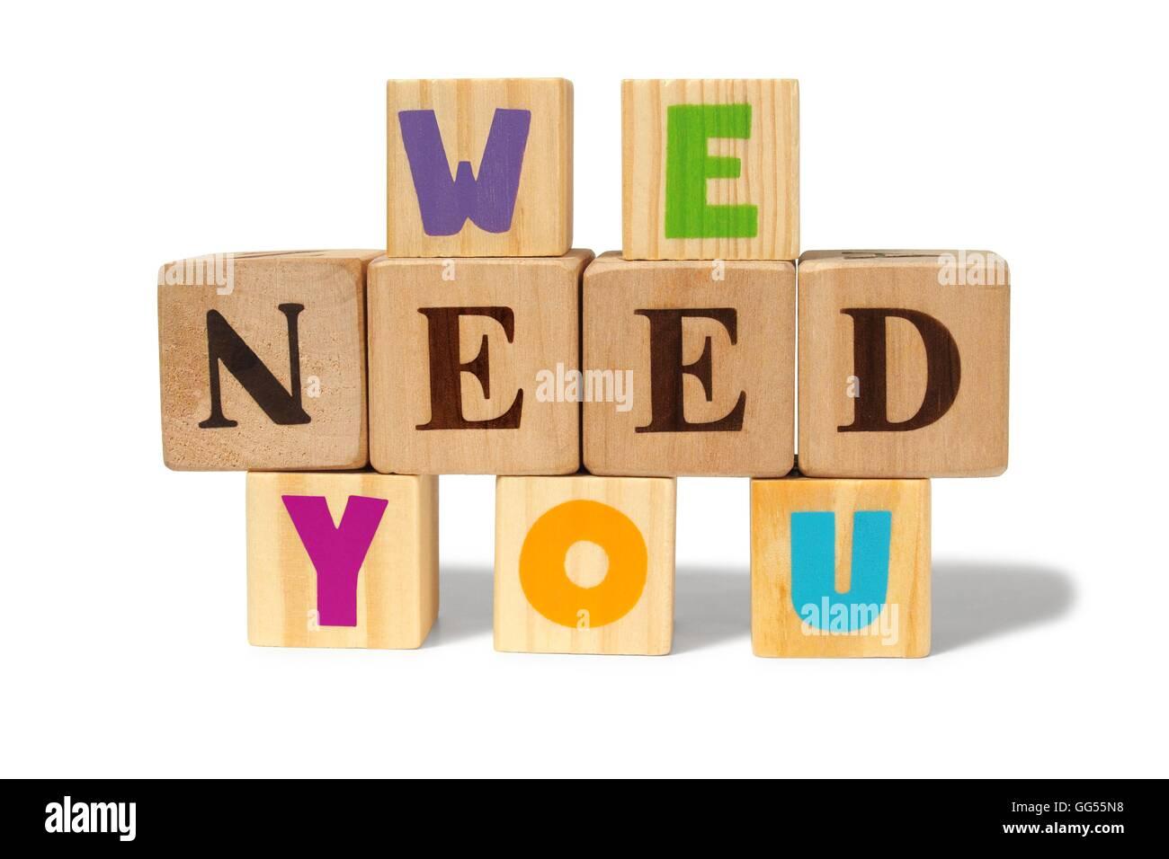 We need you message - Stock Image