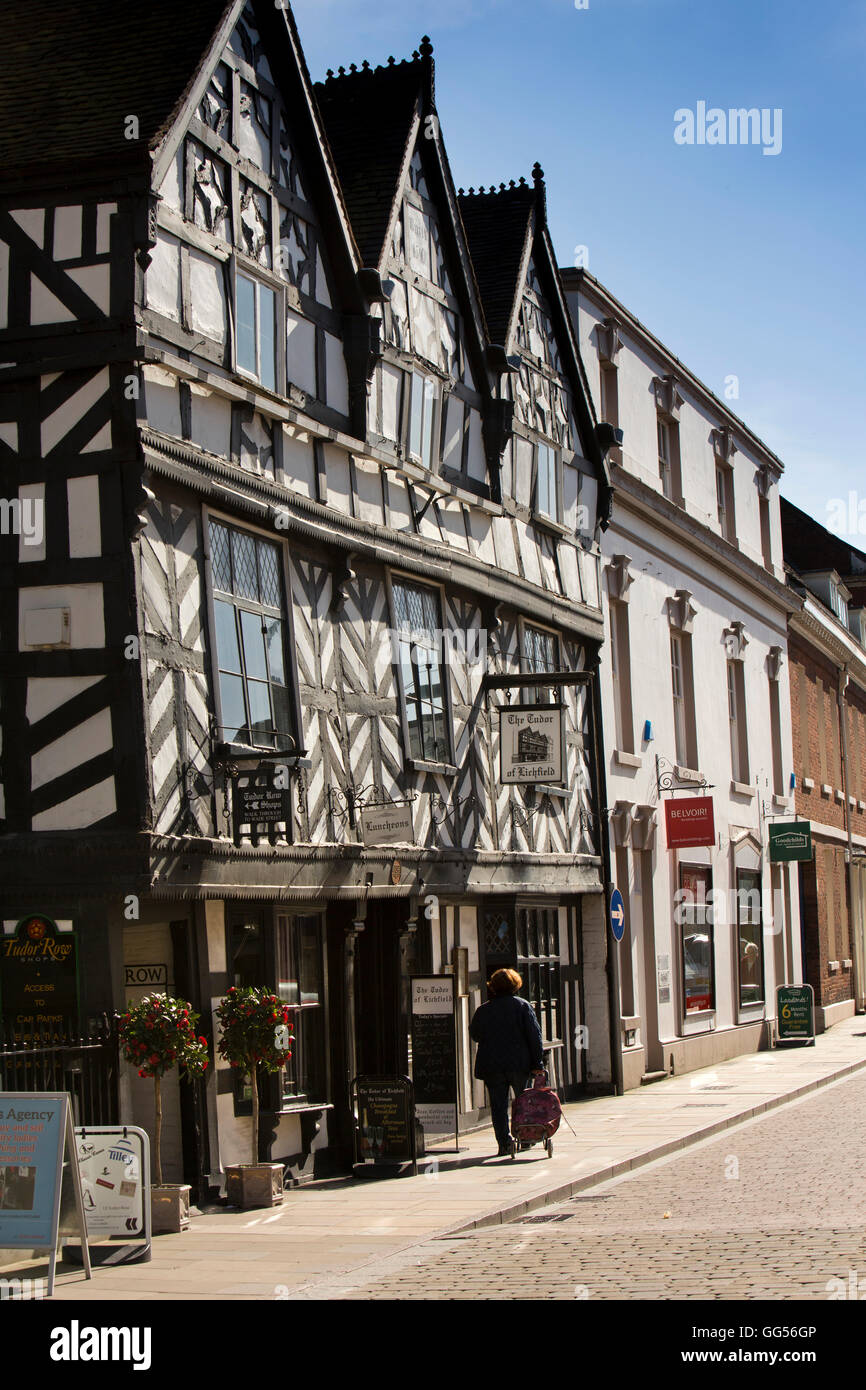 UK, England, Staffordshire, Lichfield, Bore Street, The Tudor, timber framed 1510 historic building - Stock Image
