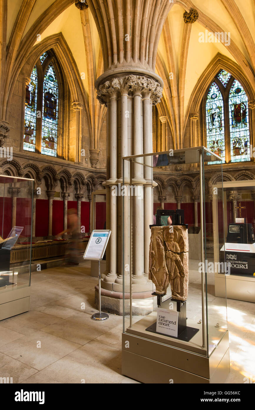 UK, England, Staffordshire, Lichfield, Cathedral, Chapter House, the Lichfield Angel on display - Stock Image