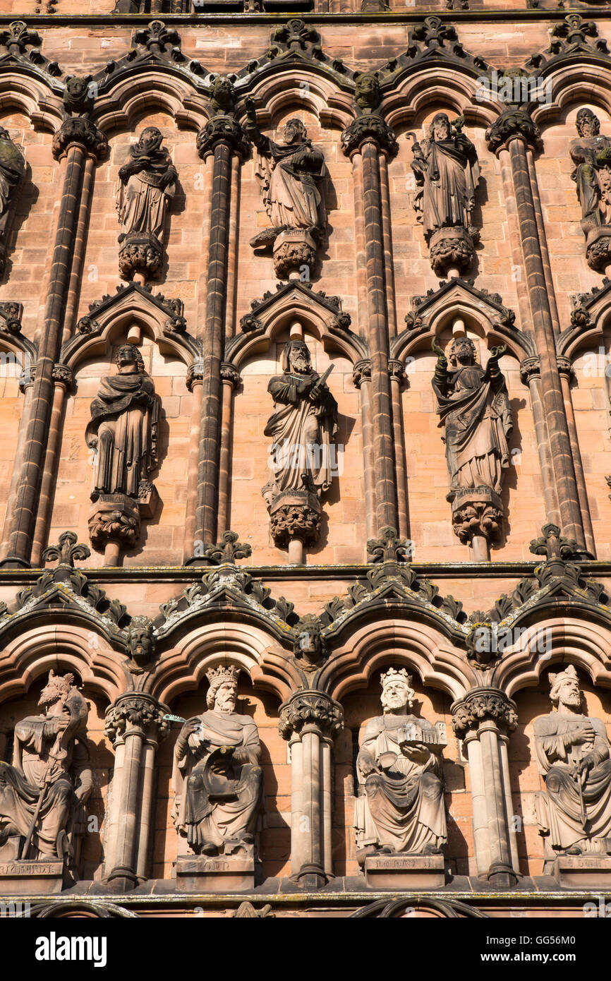 UK, England, Staffordshire, Lichfield, Cathedral, West Front, statues of kings and saints - Stock Image