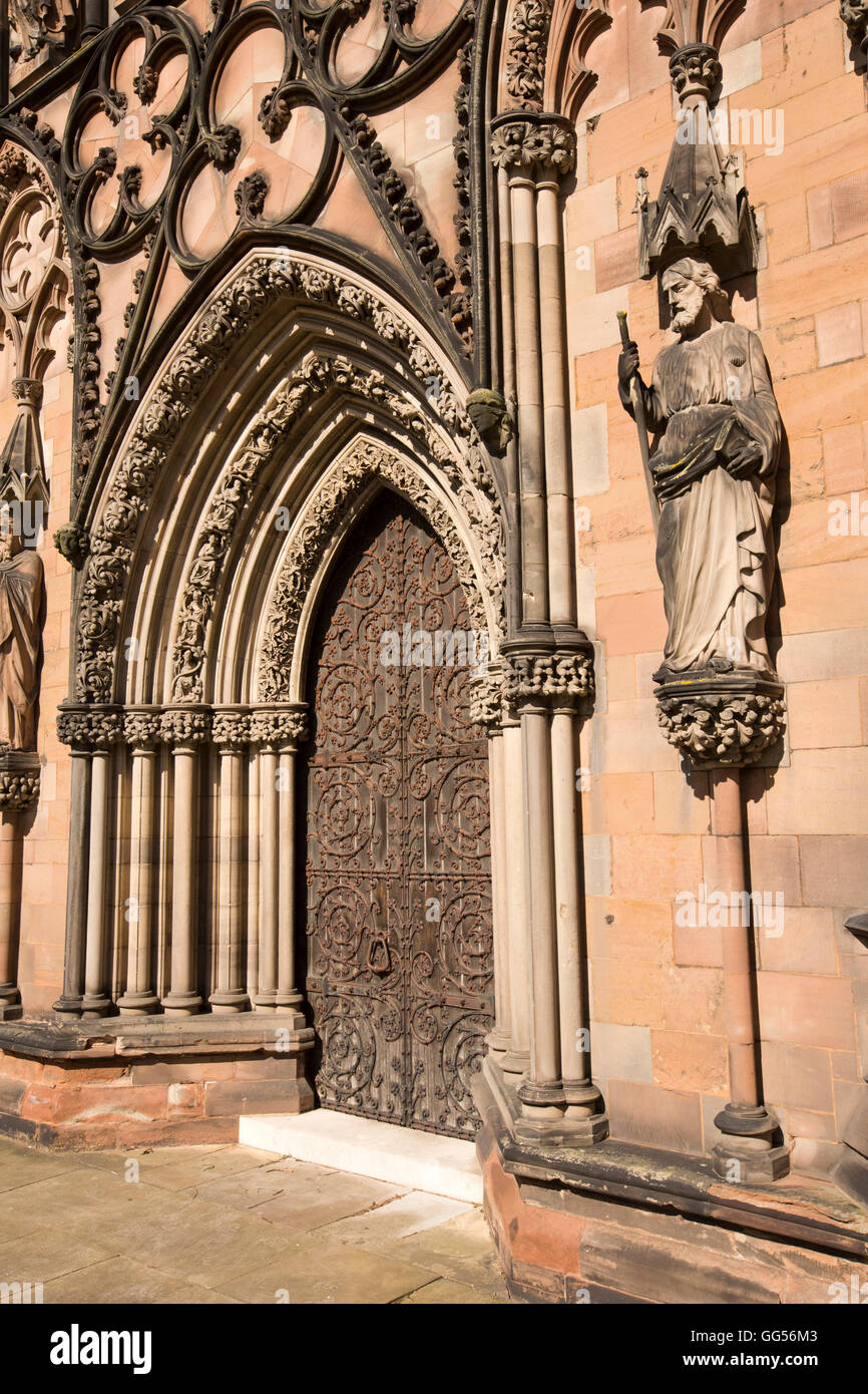 UK, England, Staffordshire, Lichfield, The Close, Cathedral, West Door - Stock Image