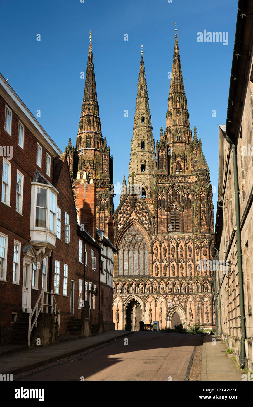 UK, England, Staffordshire, Lichfield, Cathedral from The Close - Stock Image