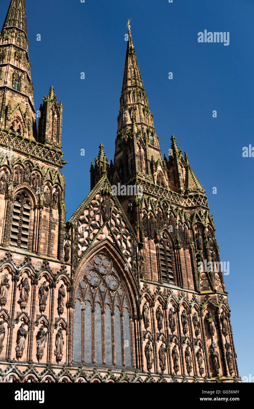 UK, England, Staffordshire, Lichfield, The Close, Cathedral, West Front and spire detail - Stock Image