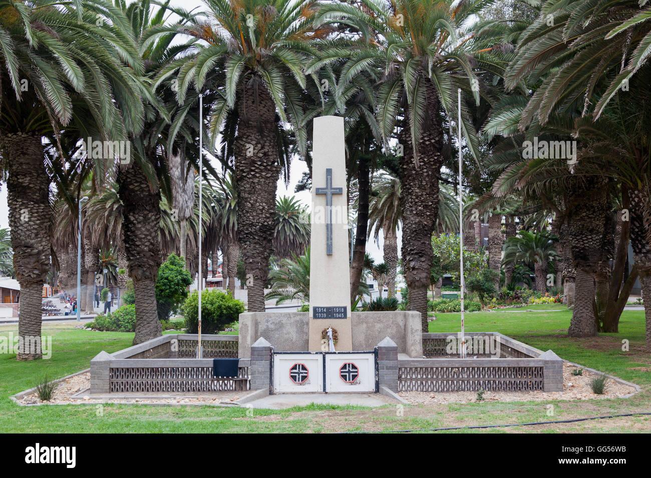 Swakopmund Namibia German WW1 and WW2 war memorial, - Stock Image