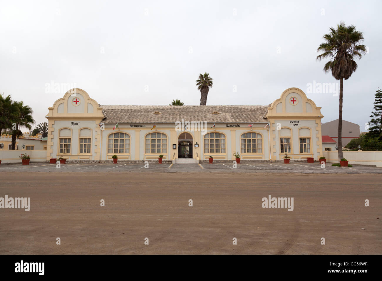 Swakopmund Namibia Prinzessin Rupprecht Residenz now a hotel but previously a military hospital dating back to the - Stock Image