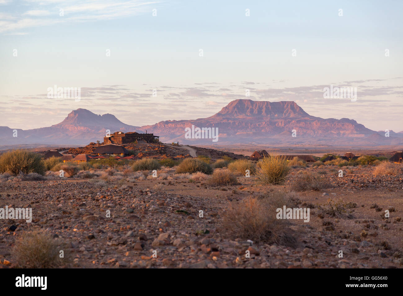 Namibia Dawn at the Doro Nawas camp with views to the nearby beautiful  Mountains - Stock Image