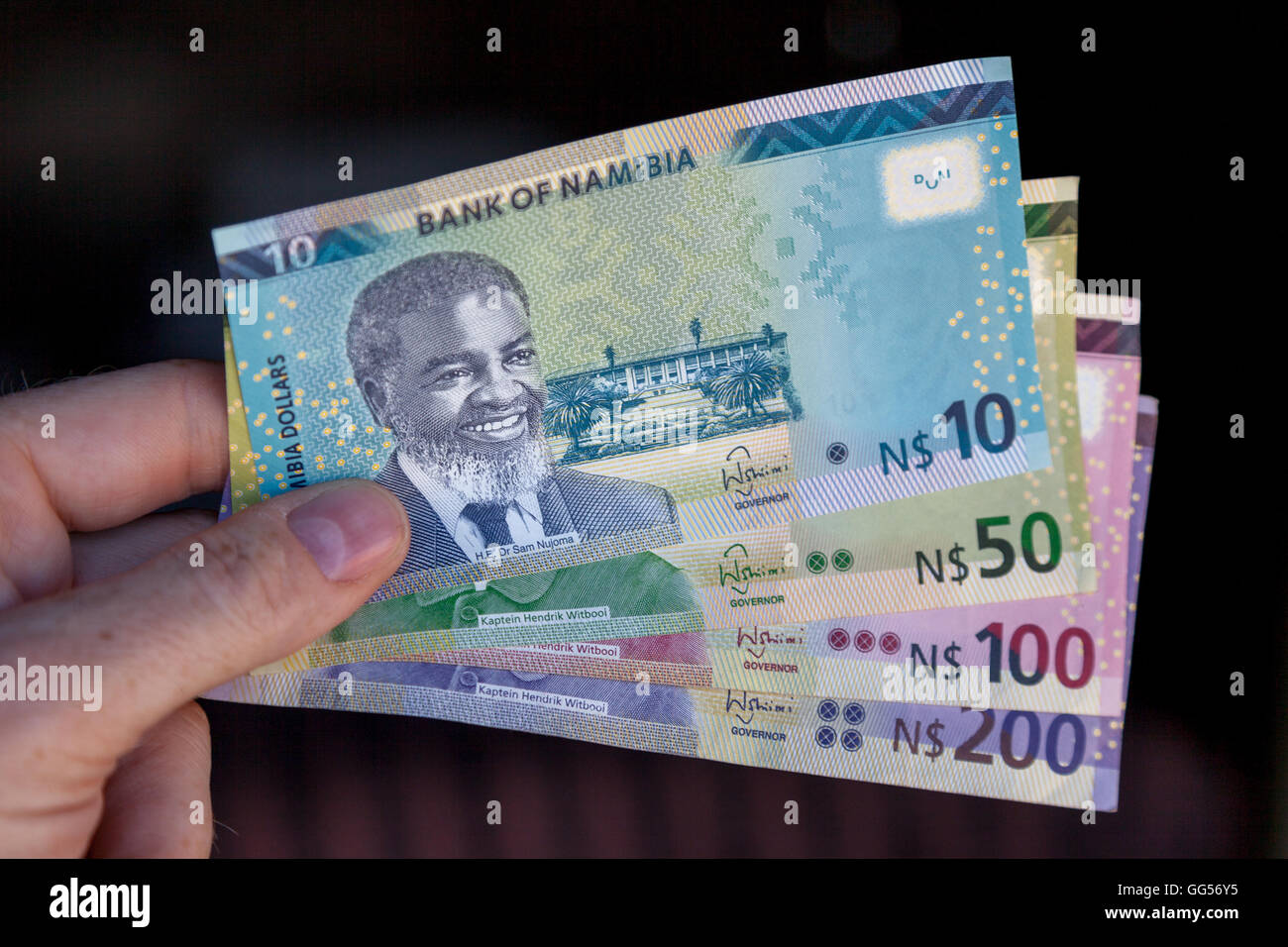 Namibia Namibian dollar currency. N$10 bill depicting Sam Nujoma, the first president of independent Namibia. - Stock Image