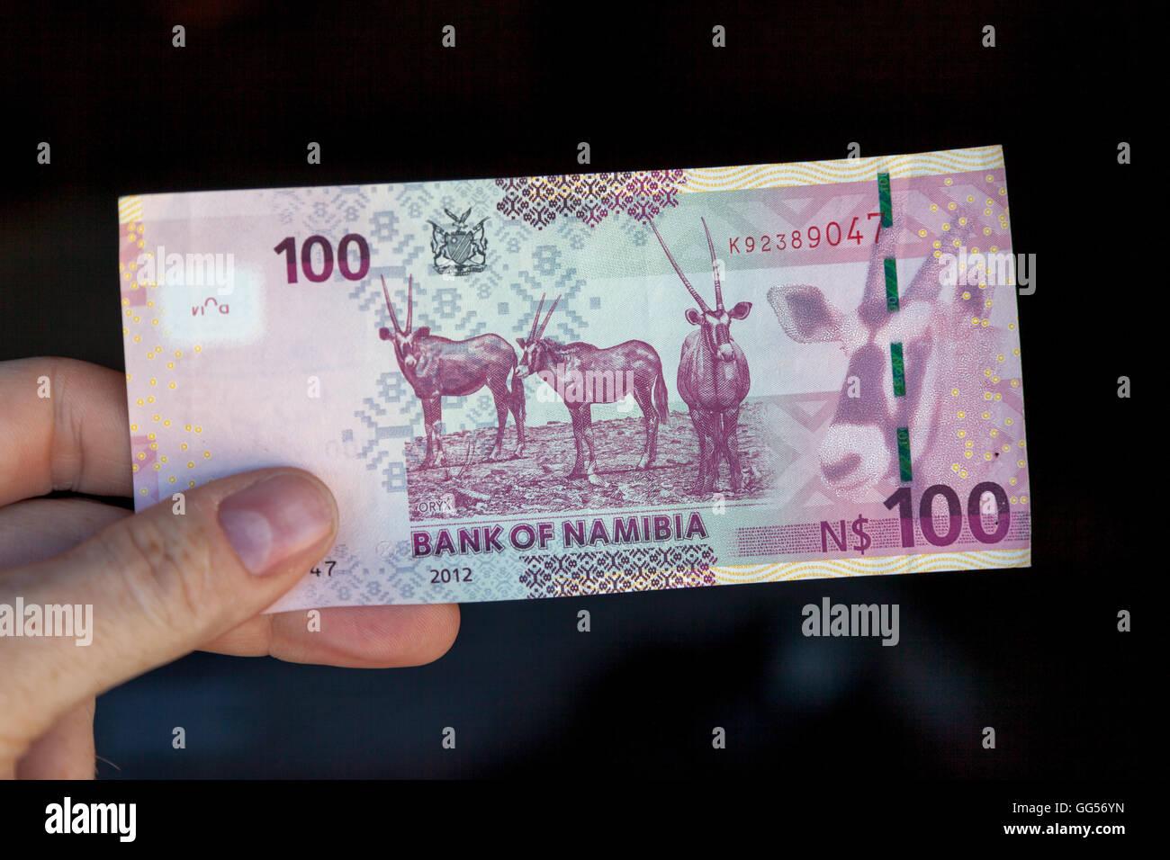 Namibia Namibian N$100 bill depicting Oryx - Stock Image