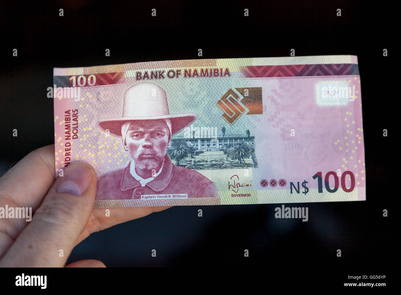 Namibia Namibian dollar currency. N$100 depicting Kaptein Hendrik Witbooi, a chief of the ǀKhowesin people who took - Stock Image