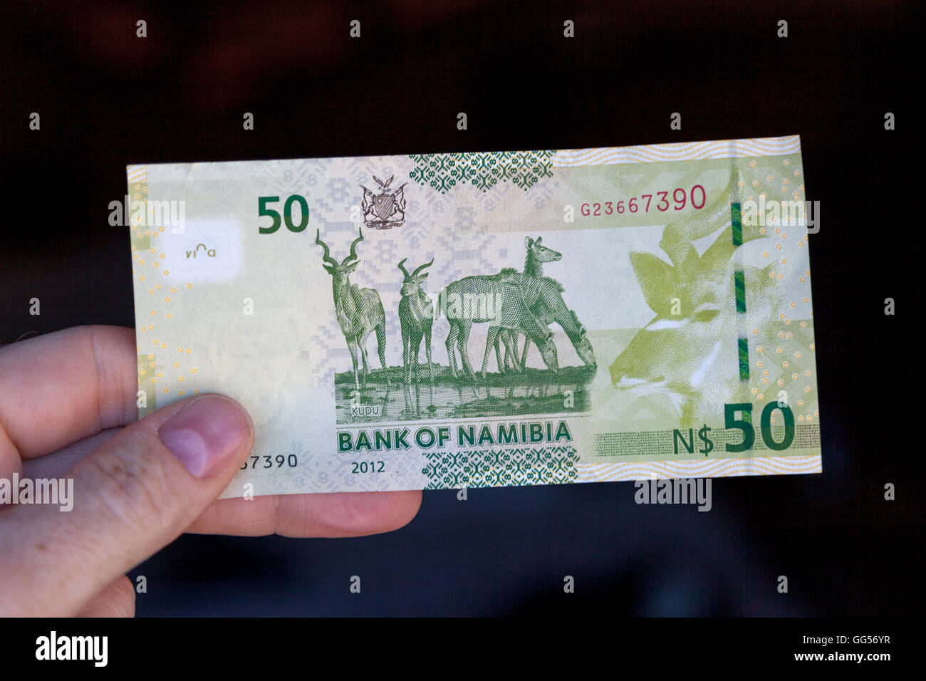 Namibia Namibian dollar currency. N$50 depicting Kudu - Stock Image