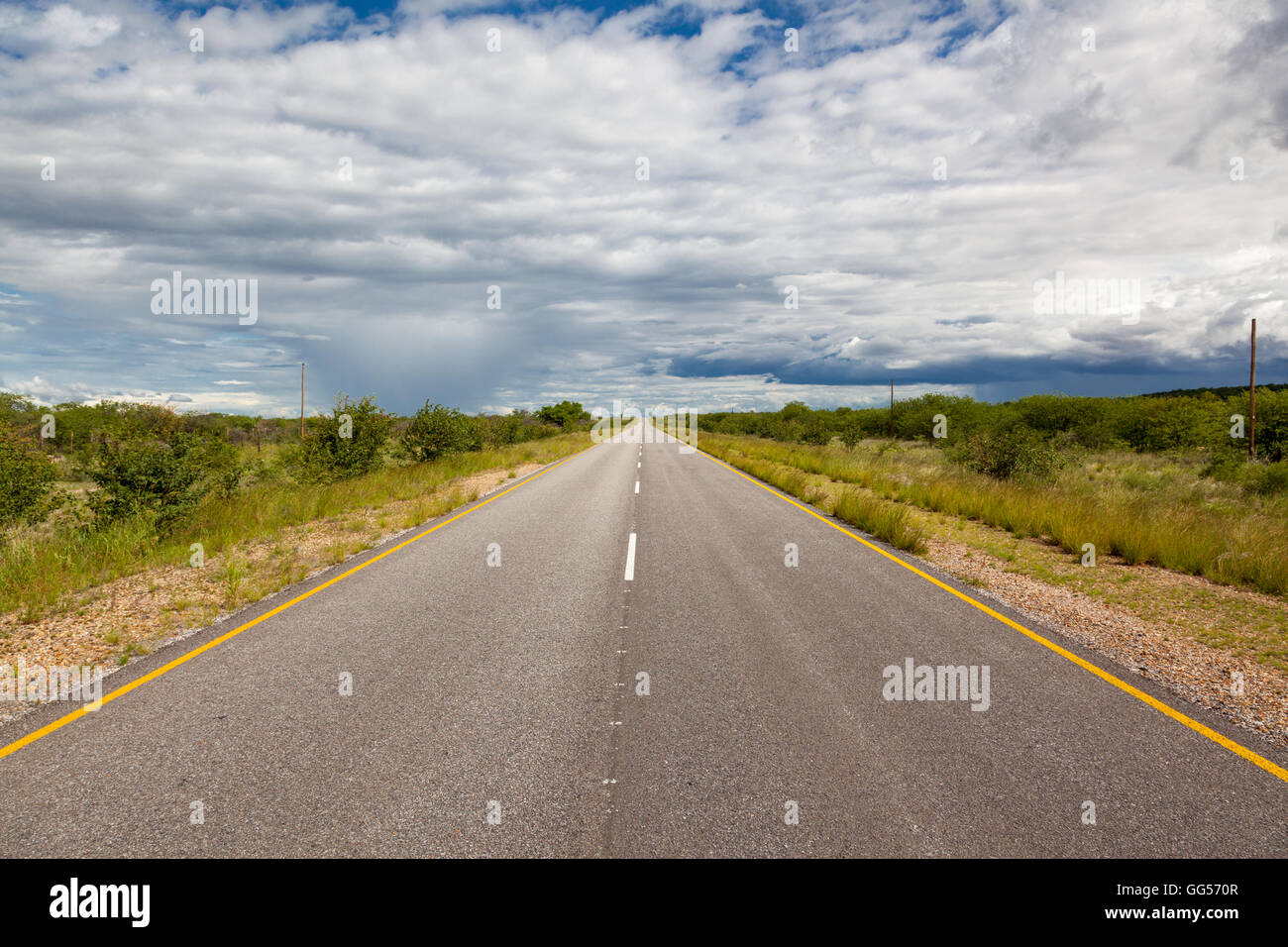 Namibia Rainstorm, Highway C38 near Etosha - Stock Image