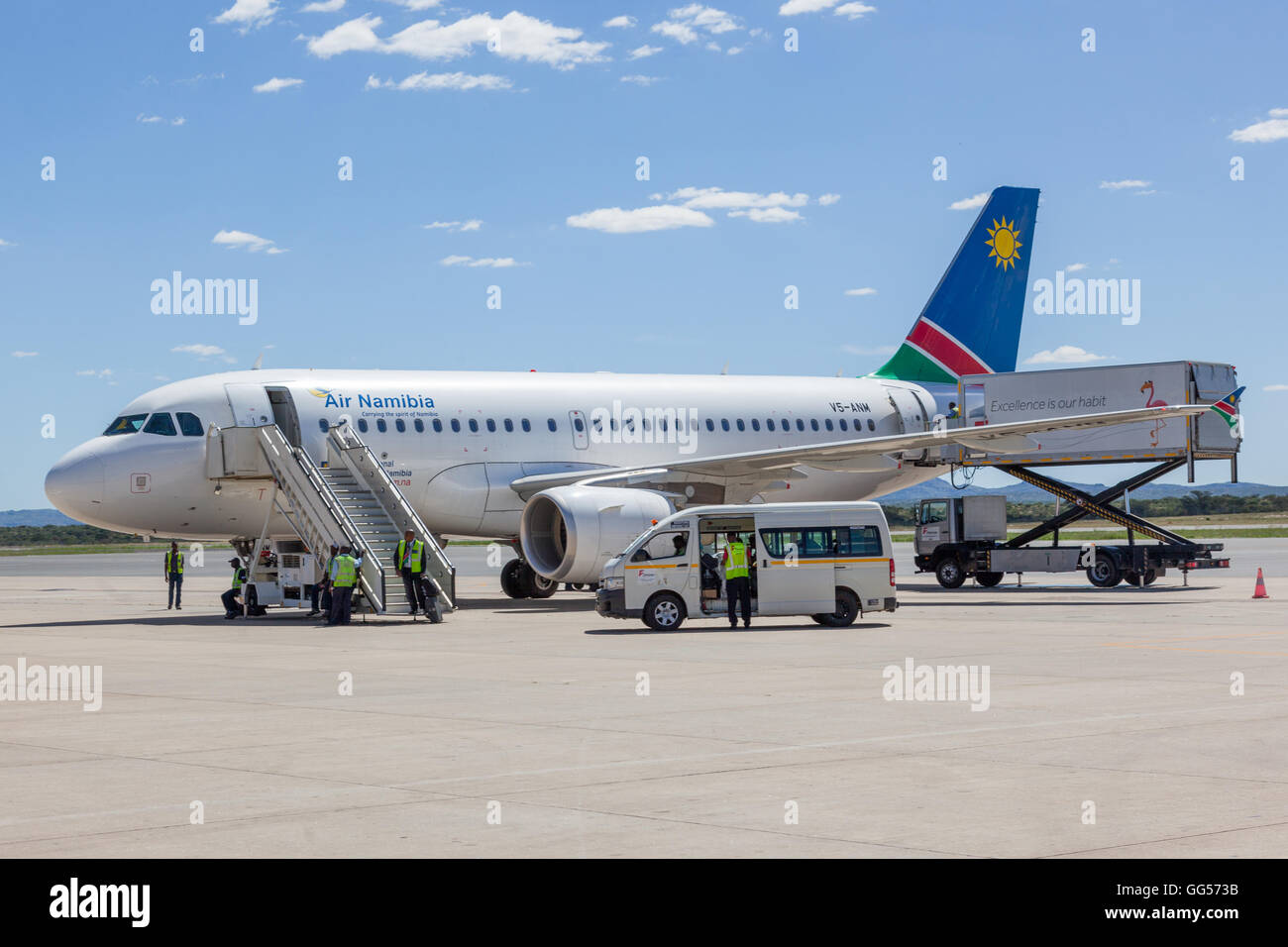 Namibia Air Namibia - Airbus A319-112 V5-ANM at Windhoek Hosea Kutako International Airport - Stock Image