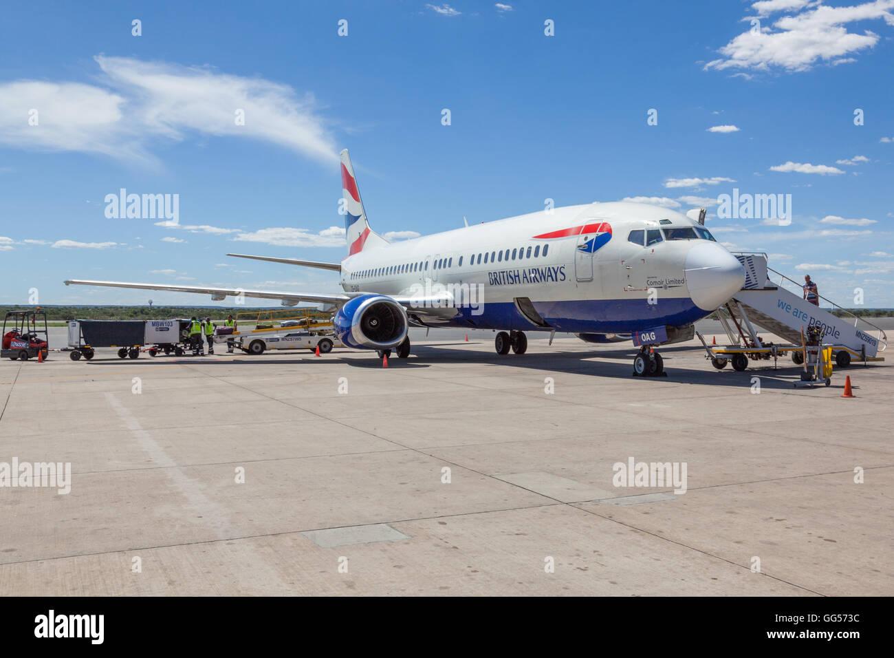 Namibia British Airways, Comair, Boeing 737 ZS-OAG, at Windhoek Hosea Kutako International Airport - Stock Image