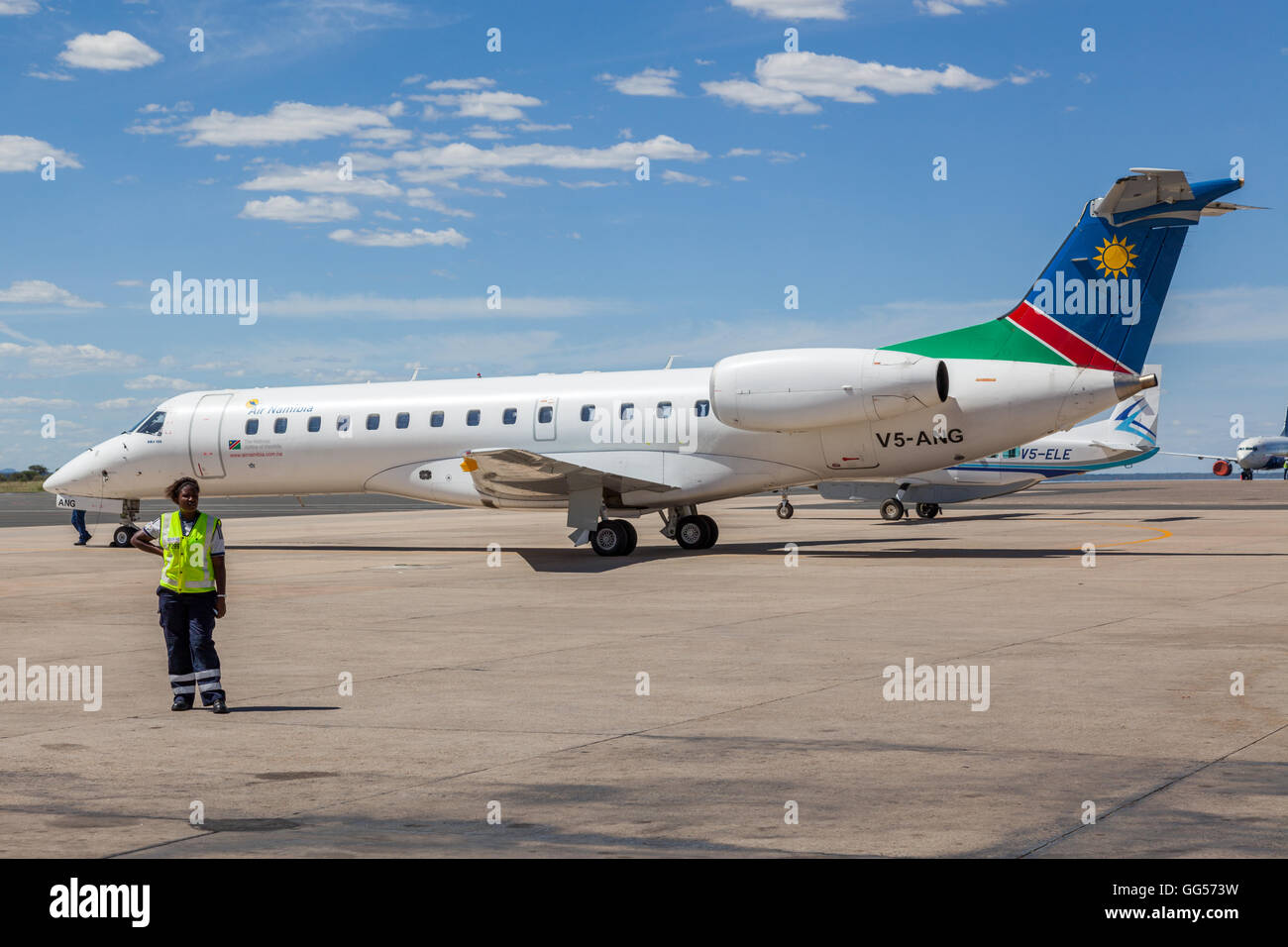 Namibia Air Namibia Embraer ERJ 135 V5-ANG at Windhoek Hosea Kutako International Airport - Stock Image