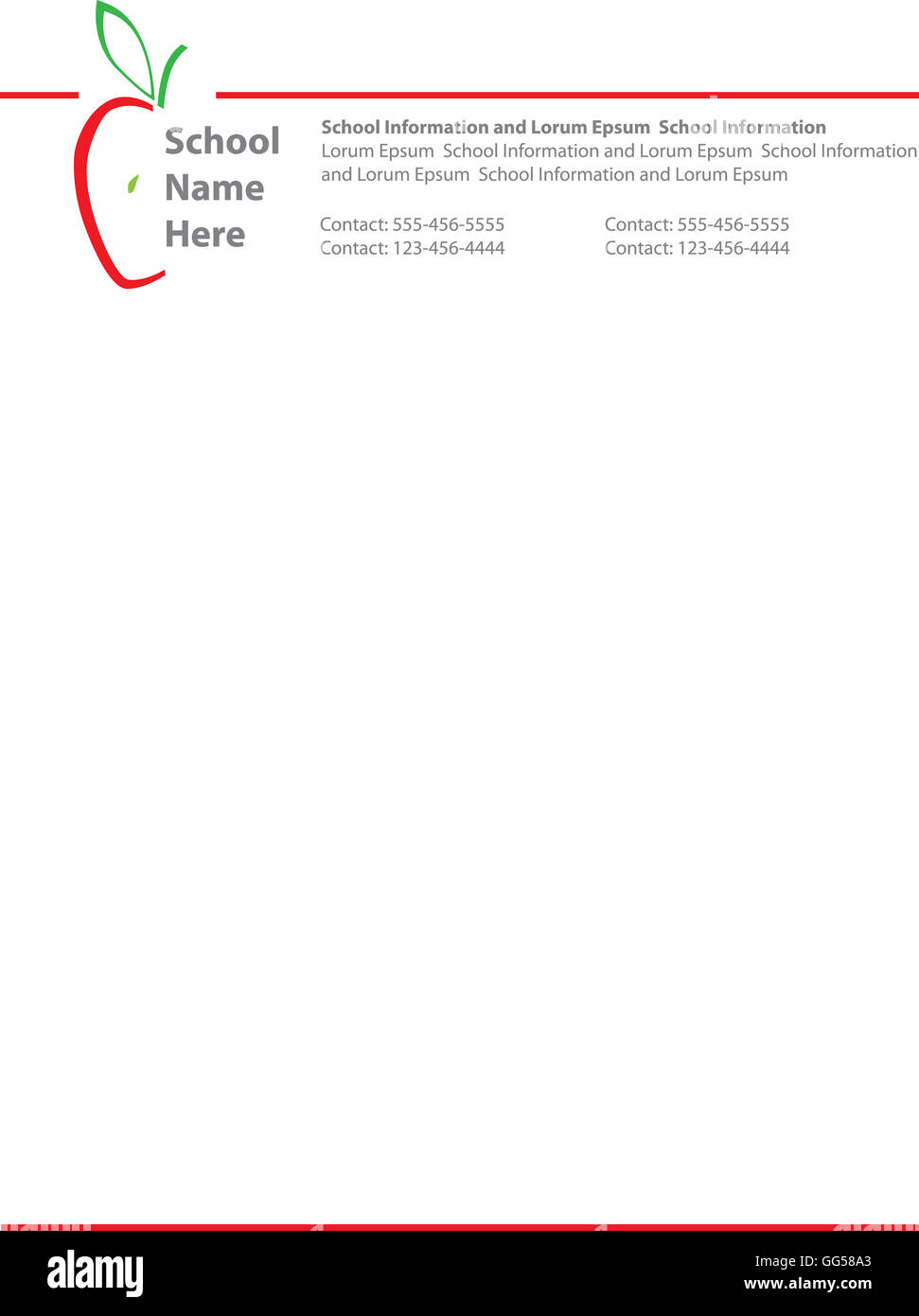 apple logo professional school letterhead template stock photo