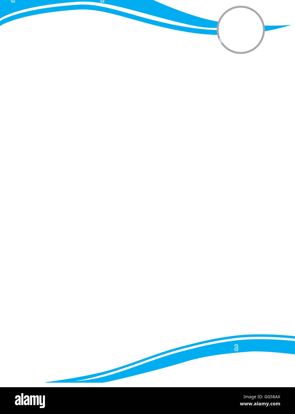 Cyan Wave Letterhead Template with Circle for Logo - Stock Image