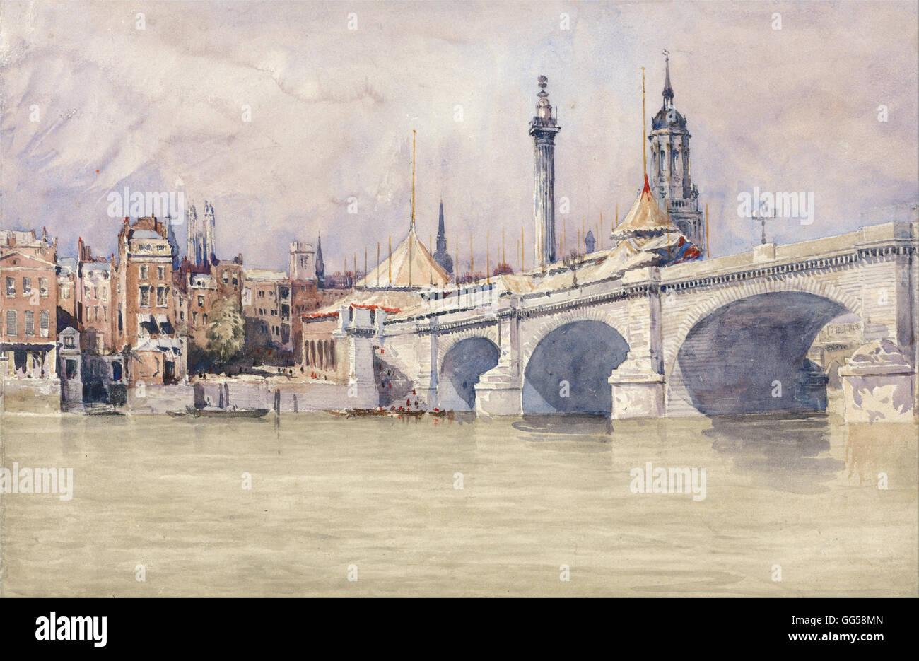 David Cox - The Opening of the New London Bridge - Stock Image