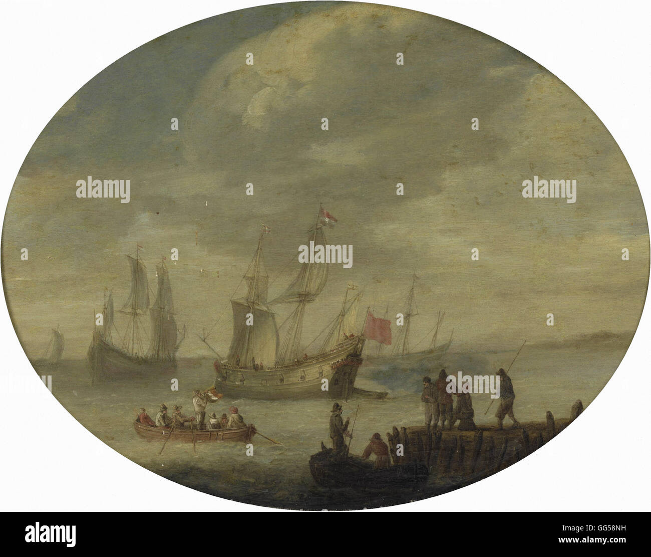 Abraham de Verwer - Armed Merchantmen off the Dutch Coast Preparing to Set Sail - Stock Image