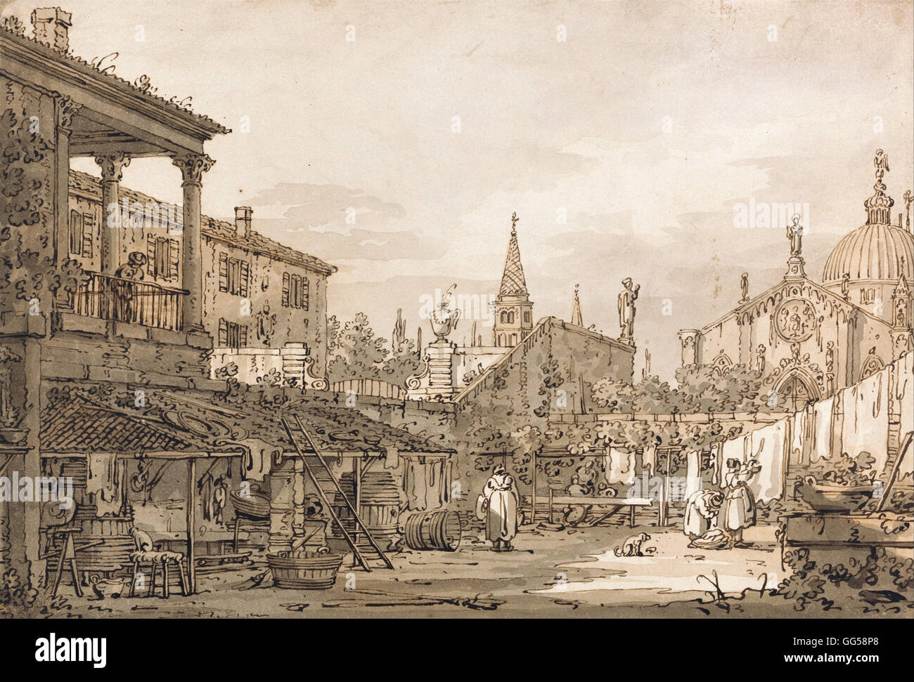 Canaletto - Capriccio of a Venetian Courtyard - Stock Image