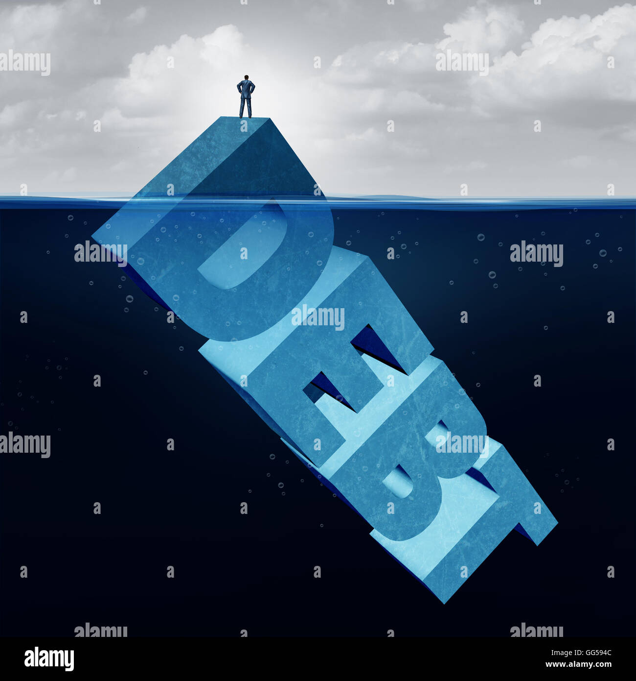 Hidden debt business and unknown financial danger concept as a naive businessman standing on the tip of an iceberg - Stock Image
