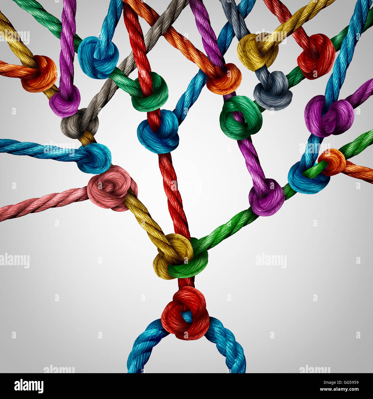 Network tree connection as a group of connected ropes tied together as a growth branching structure. - Stock Image