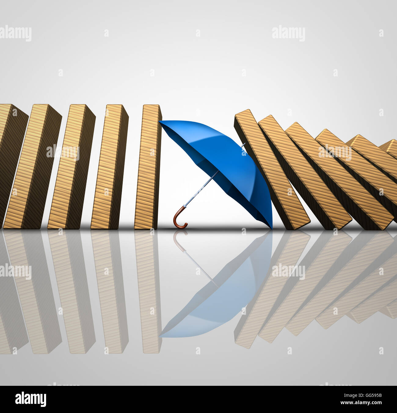 Protect losses concept and shielding incoming disaster as an umbrella stopping the domino effect or falling dominos - Stock Image