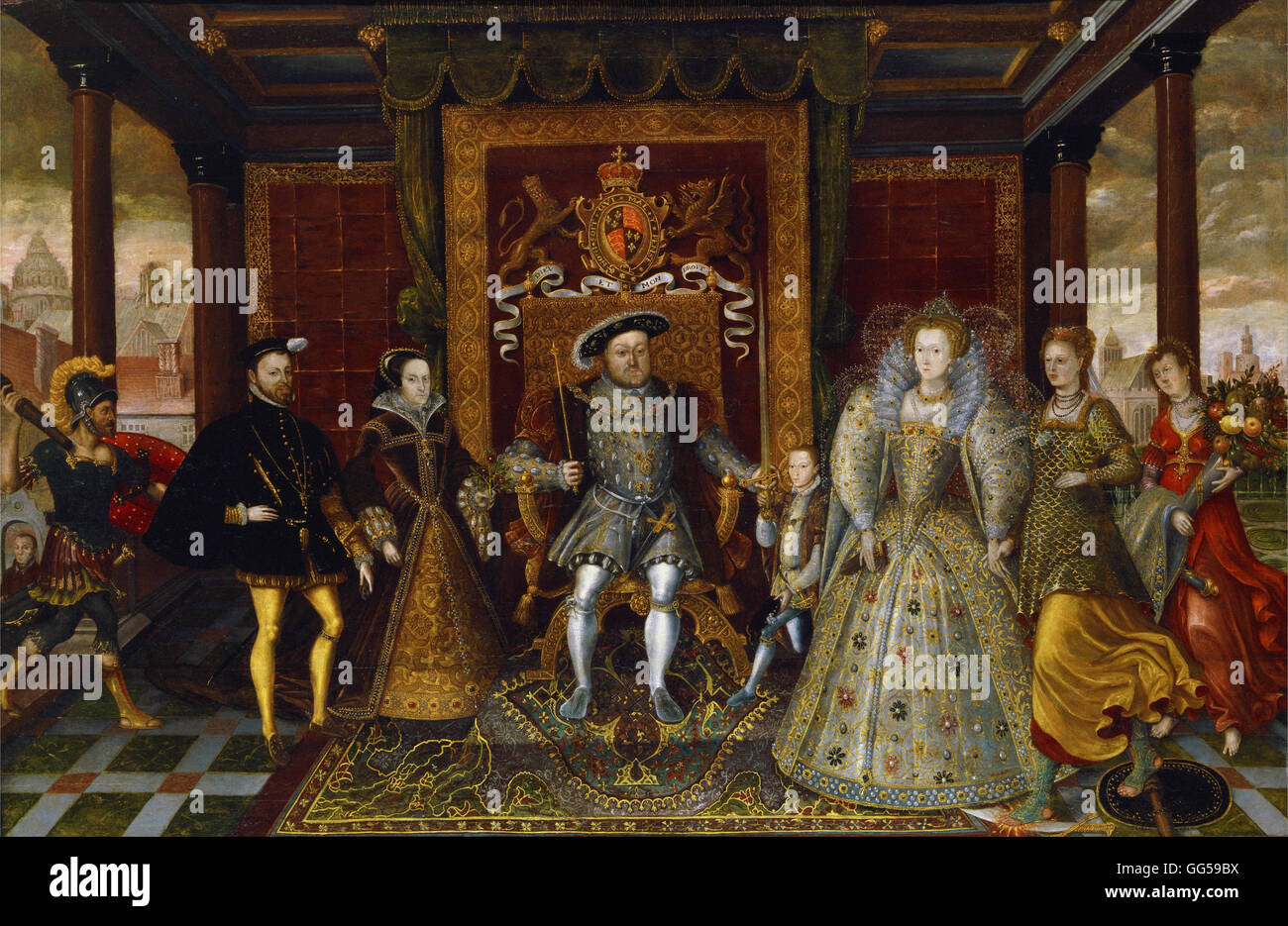 An Allegory of the Tudor Succession- The Family of Henry VIII - Stock Image