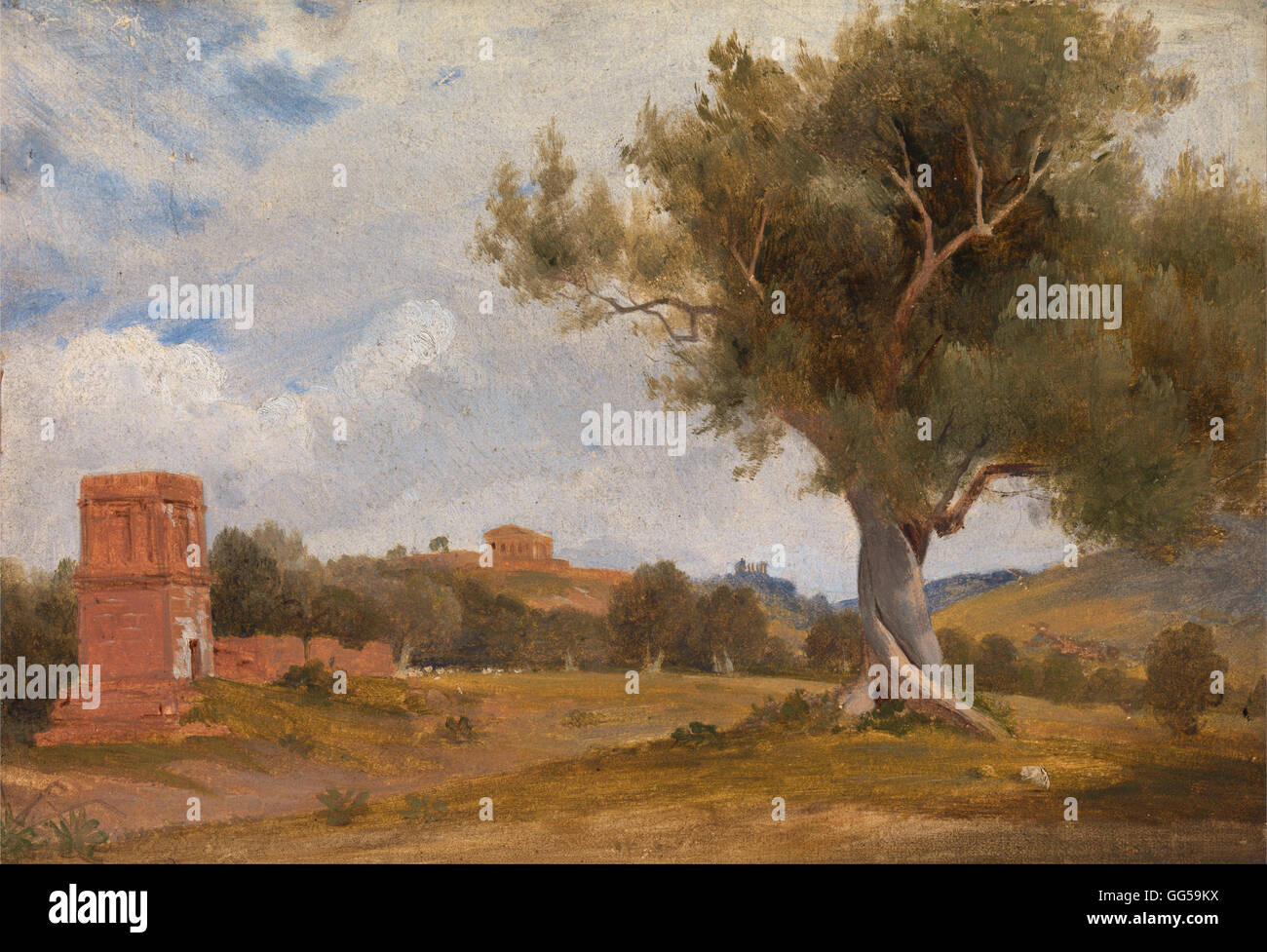 Charles Lock Eastlake - A View at Girgenti in Sicily with the Temple of Concord and Juno - Stock Image