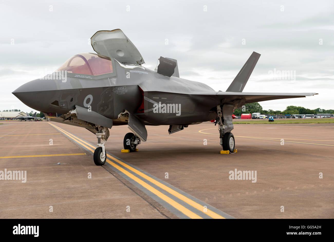 F35B Lightning II destined for Royal Navy/Royal Air Force at the Royal International air Tattoo 2016 - Stock Image