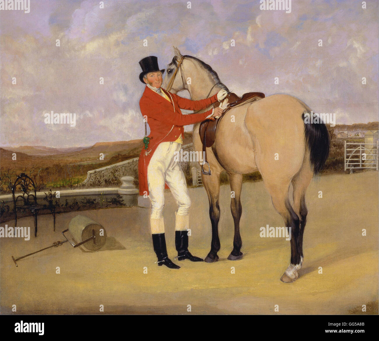 Anson Ambrose Martin - James Taylor Wray of the Bedale Hunt with his Dun Hunter - Stock Image