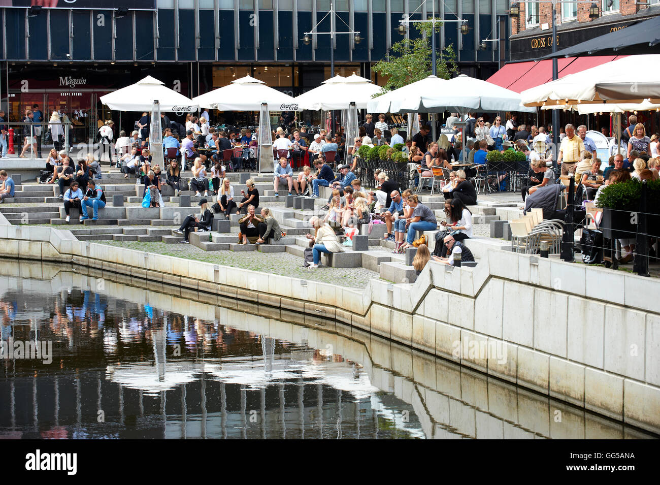 People relaxing at canal, Aaboluvarden, Aarhus, Denmark - Stock Image