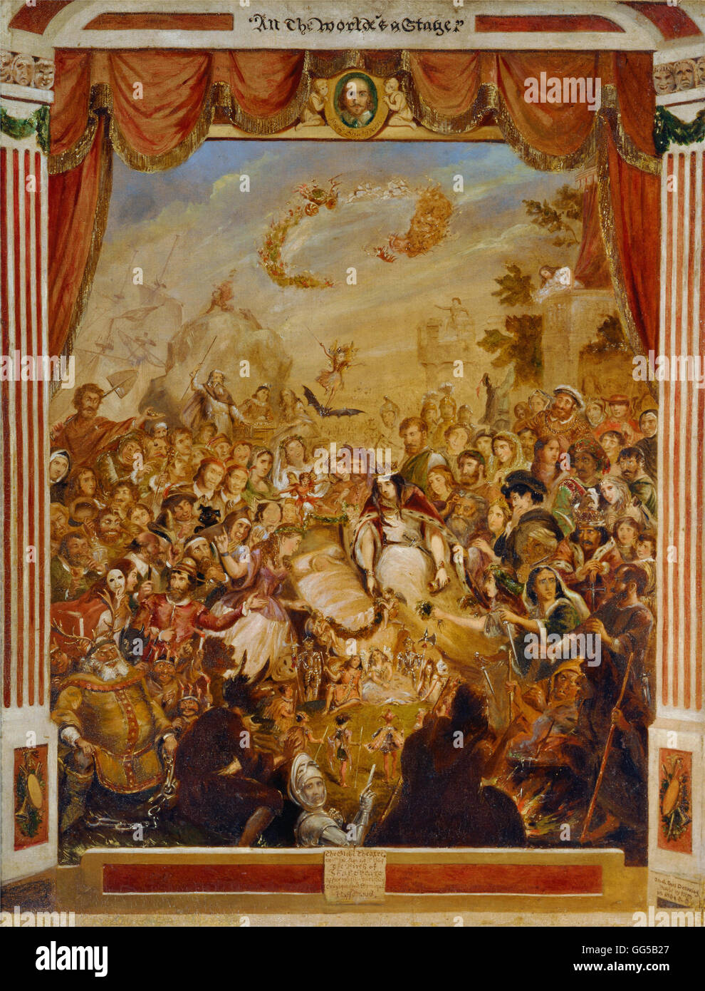 George Cruikshank - The First Appearance of William Shakespeare on the Stage of the Globe Theatre - Stock Image