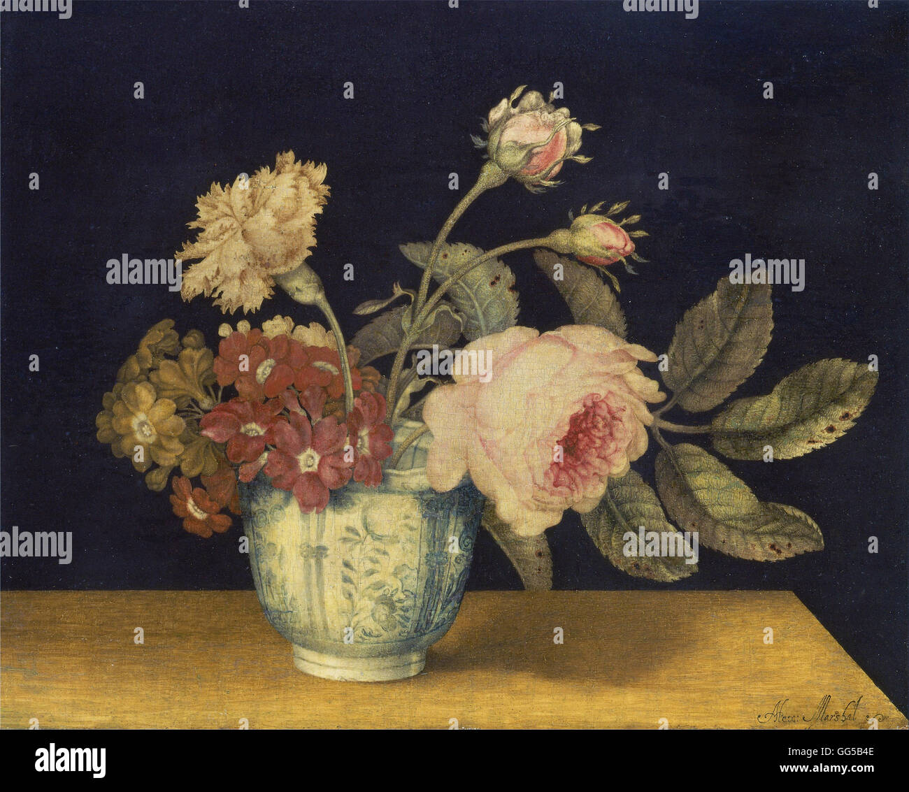 Alexander Marshal - Flowers in a Delft Jar - Stock Image
