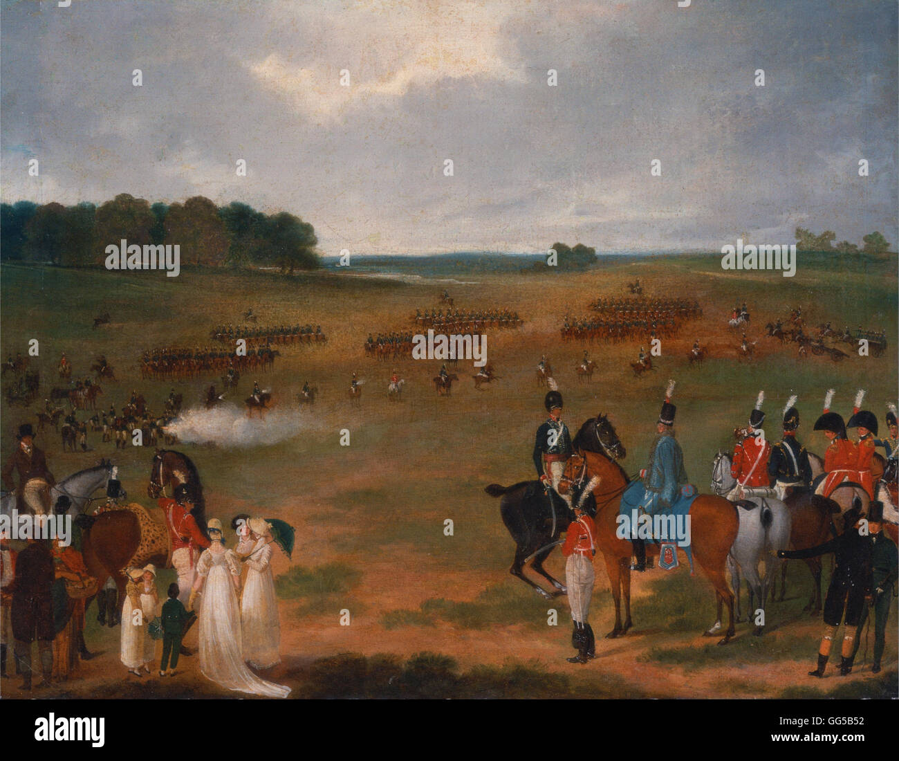 A Review of the London Volunteer Cavalry and Flying Artillery in Hyde Park in 1804 - Stock Image