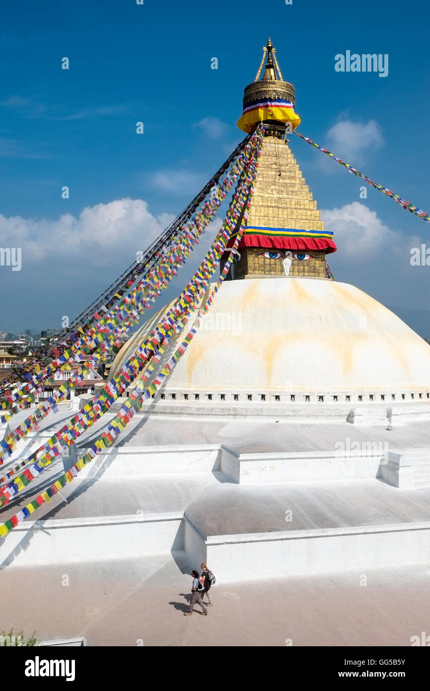 The platforms  and stupa in Boudhanath (also known as Bodnath) temple, Kathamandu area, Nepal. - Stock Image